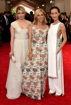 Designer Tory Burch with actresses Dianna Agron and Maggie Q.