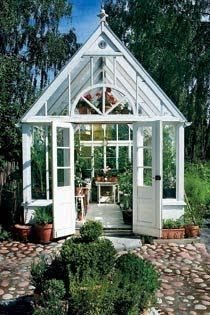 """Green house! Trying to convince Gary we """"need"""" one of these to grow our herbs in over the winter. Well, then I guess I'd have to go out into the snow to pick basil and parsley instead of just going into the sunroom...."""