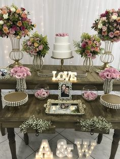Top 14 Must See Rustic Wedding Ideas ---Wooden table wedding food bar with blush floral decorations with led letters, country weddings in barn/farmhouse venues. 50th Wedding Anniversary Decorations, Engagement Party Decorations, Birthday Decorations, Floral Decorations, Wedding Table, Rustic Wedding, Civil Wedding, Wedding Pinterest, Event Decor