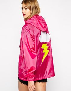 Alice Takes A Trip Festival Mac Jacket With Cartoon Cloud Back Detail