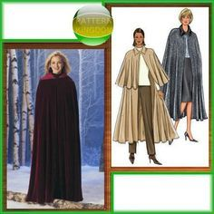 Butterick 4030 Gothic Hooded Cloak/Cape Patterns Victorian