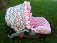 Infant Car Seat Cover in Pink/ Grey Chevron