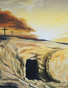 Detail from a painting by Miriam Fransham depicting the crosses and the empty tomb against the backdrop of an Easter sunrise.