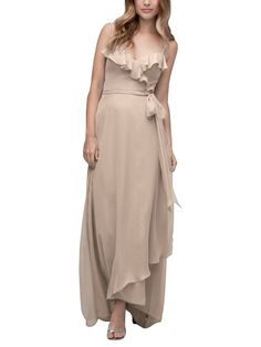 DescriptionWtoo by Watters Style 105Full length bridesmaid dressSweetheart neckline with ruffle detailHigh-low wrap skirt ties at waistChiffon