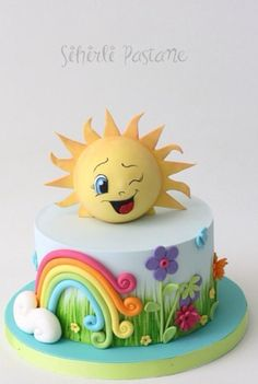 Sun Cake by Magical Pastry Shop - Learn cake decorating with cake and fondant - Rainbow Baby Cakes, Baby Birthday Cakes, Girl Cakes, Birthday Gifts, Fondant Cakes, Cupcake Cakes, Sun Cake, Sunshine Cake, Happy Sunshine