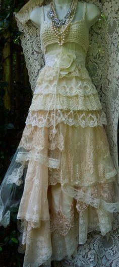 Cream wedding dress lace  crochet champagne by vintageopulence   i REALLY LIKE THE SKIRT ALL THE DIFFERENT LACES MIXED