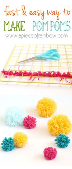 Become pom-pom making NINJAS! How to make many pom poms super fast all in one batch for your crafting projects!Including T-shirt yarn pompoms! - A Piece Of Rainbow Pom Pom Crafts, Yarn Crafts, Diy Crafts, Craft Stick Crafts, Crafts To Make, Arts And Crafts, Preschool Crafts, Craft Tutorials, Craft Projects