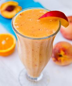 Straight A Smoothies    Ingredients     1 cup fresh squeezed orange juice (about 3-4 oranges)  1 small fresh peach  1/2 fresh nectarine  1 cup frozen banana  1 tsp apple cider vinegar  2 tsp maple syrup  1/4 cup ice  optional: 1/2 cup vanilla yogurt (soy)       How to do     Blend and serve!