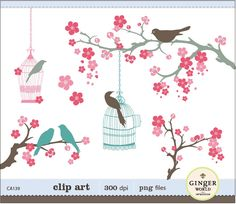 Blooming Cherry flower and whimsical birds clipart digital illustration for scrapbooking, DIY invitation (CA139). $5.95, via Etsy.