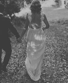 stunning low back flower detail wedding dress in ivory silk chiffon.