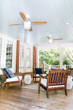 "Haint Blue Porch Ceiling Makeover | blesserhouse.com - A drab, beige porch gets a fresh, Southern makeover with ""haint"" blue (Benjamin Moore Palladian Blue) and modern farmhouse ceiling fans. #porch #outdoormakeover"