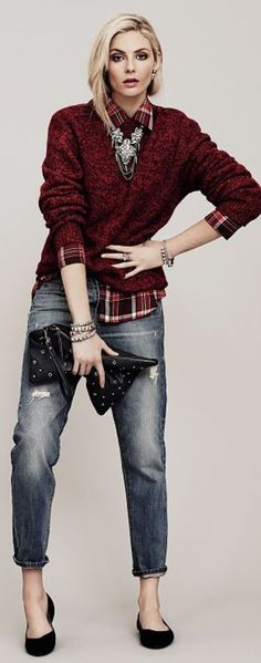 Love this - distressed boyfriend jeans, black flats, plaid shirt and burgundy knit jumper with statement necklace and clutch bag from Accessorize