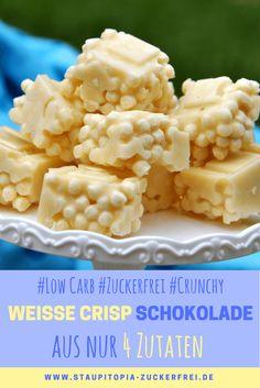 Weiße Crisp Schokolade selber machen und das auch noch Low Carb und richtig crunchy? Das geht! Für die Zubereitung benötigst du auch nur 4 Zutaten: Erythrit, Kakaobutter, Sahnepulver und Protein Crispies. Probier die weiße Low Carb Crisp Schokolade am besten direkt aus!