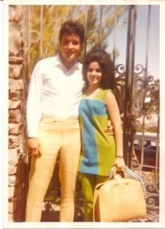 Elvis and Priscilla in Palm Springs for the honeymoon, May 1967.