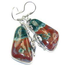 $74.15 Natural+Beauty+AAA+Ocean+Jasper++Sterling+Silver+Earrings at www.SilverRushStyle.com #earrings #handmade #jewelry #silver #jasper
