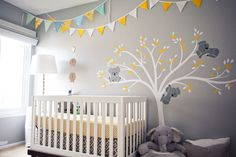 Contemporary Kids Bedroom with Mural, Vinyl wall decal, no bedroom feature, Oeuf classic crib in white/walnut, Paint 1