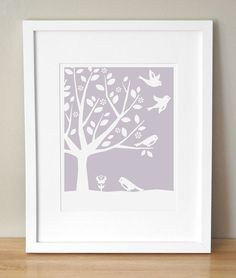Nursery Art Print - CUSTOM COLOR - Peaceful Tree, Birds 8x10