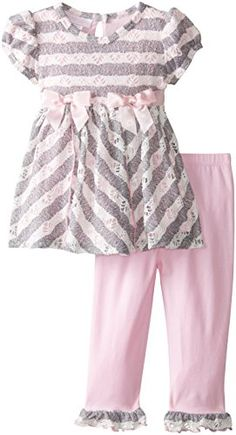 Bonnie Baby Baby Girls Novelty Bias Knit Legging Set Pink 24 Months *** You can find more details by visiting the image link.