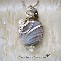 Stripes Botswana Agate Wire Wrapped Pendant Necklace in Silver by CareMoreCreations.com, $45.00