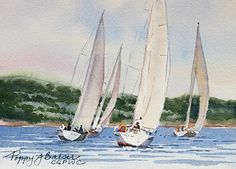 "Regatta by Poppy Balser Watercolor ~ 5 x 7"" watercolour, Daily painting #12 Sold"