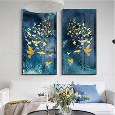 Gold leaf abstract painting canvas wall art pictures for liv.- Gold leaf abstract painting canvas wall art pictures for living room home hallway wall decor original acrylic gold birds blue texture decor image 0 - Hallway Wall Decor, Canvas Wall Decor, Home Wall Decor, Canvas Art, Painting Canvas, Abstract Canvas, Painting Abstract, Room Decor, Hallway Decorating
