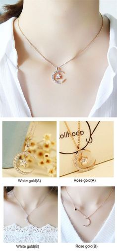 Cute Moon Star Crystal Pendant Rhinestone Women Necklace for big sale! #necklace #cute #Moon #star #women