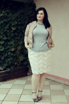 plus size outfit: pastel leather and lace