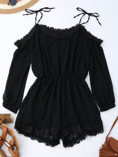 GET $50 NOW   Join Zaful: Get YOUR $50 NOW!http://m.zaful.com/lace-trim-tie-shoulder-romper-with-dot-p_280140.html?seid=4124395zf280140
