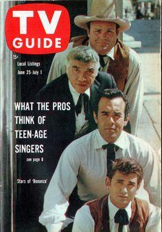 #Sixties | TV Guide, June 25-July 1, 1960 ~ Dan Blocker, Lorne Greene, Pernell Roberts, and Michael Landon of Bonanza