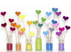 Felt hearts + colored sand-be still my newly renewed love of rainbow heart Valentine Day Crafts, Valentines, Diy And Crafts, Arts And Crafts, Colored Sand, Colored Rice, Rainbow Heart, Rainbow Birthday, Felt Hearts