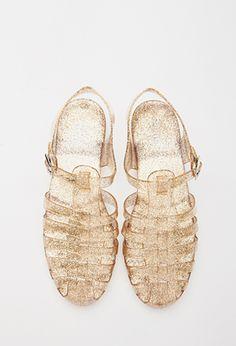 Caged Glitter Jelly Sandals   FOREVER21 - 2000078763 Maggie you had these in pink glitter when you were not even 1! Dad bought them for you?)