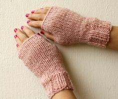 Pastel Pink Glitters Shimmery Wool Fingerless Mittens.