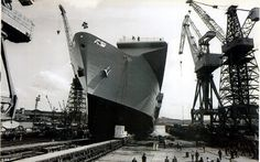 The new HMS Ark Royal at the Swan Hunter shipyard in June 1981 after being launched by the Queen Mother