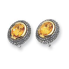 Give yourself the look of luxury with this stunning pair of citrine earrings set in antiqued sterling silver and yellow gold accents. Citrine Earrings, Sterling Silver Earrings, Gold Accents, Birthstones, Earring Set, Bali, Gemstones, Antiques, Beauty