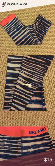 Dri fit active capris Peach and blue pattern Nike Pants Capris