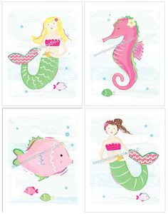 Mermaid Seahorse Ocean Sea Life Art Prints for Kids Beach Bath or Bedding Decor. $21.99, via Etsy.