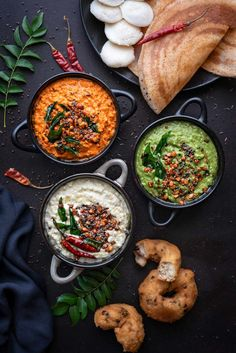3 varieties of easy and best South Indian coconut chutney recipe with step by step photos. Here is how to make coconut chutney recipe to serve along with dosa, idli, vada, uttapam, pongal and many more south indian breakfast dishes. Healthy Recipes, Veg Recipes, Kitchen Recipes, Indian Food Recipes, Cooking Recipes, Healthy Food, South Indian Chutney Recipes, South Indian Vegetarian Recipes, African Recipes