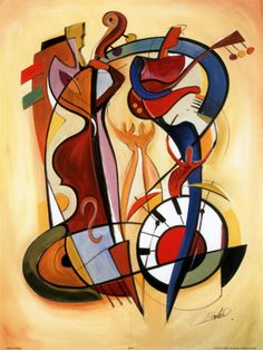 I love the round shapes in this Kandinsky painting. If you look closely, you can see that the shapes are not random: it clearly looks like instruments and people playing them. Arte Jazz, Jazz Art, Arte Pop, Abstract Expressionism, Abstract Art, Cubist Art, Abstract Paintings, Abstract Landscape, Art Mural