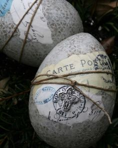"""""""A Different Take"""" Egg: Adorned in vintage patterns, topped with lovely decoupage and jewelry, these artsy eggs by Julie Belte are unlike any we've seen."""