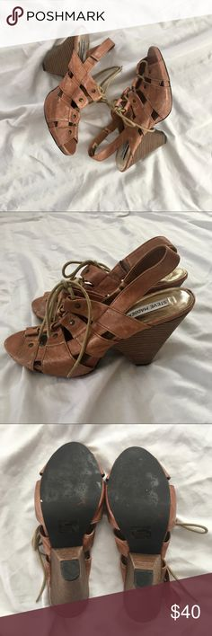 Leather Lace-up Heels Cognac Genuine Leather Sandals with Wooden (4.5in) Heel. To me they look very Anthropologie. Some wear. Make me an offer!! Steve Madden Shoes Sandals