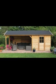 With attached garden shed Outdoor Sheds, Outdoor Rooms, Outdoor Gardens, Outdoor Living, Shed Design, Garden Design, Carport Sheds, Garden Gazebo, Garden Buildings