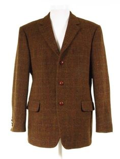 Rust check wool Harris Tweed jacket w/ elbow pads + leather buttons - Tweedmans Vintage Tweed Jackets, Harris Tweed Jacket, Second Hand Designer Clothes, Elbow Patches, Classic Man, Jackets Online, British Style, Formal Wear