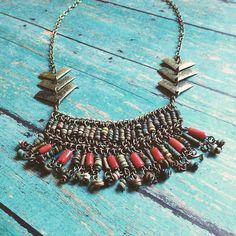 // vagabond // Vintage bead & chain collar + arrow charm trio & brass chain #oveco #otravez #otravezecotique #ov_eco