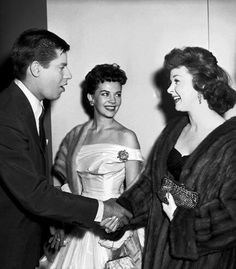 Jerry Lewis, Natalie Wood and Susan Hayward at the 28th Academy Awards Nomination Ceremony, Feb. 18, 1956