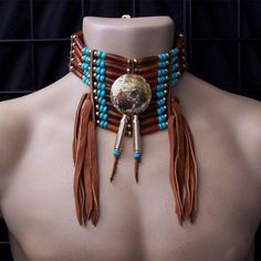 Native American Polished Brass Concho and Hairpipe Choker
