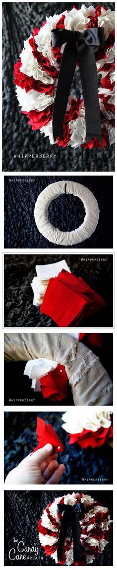 Make your own fabric wreath that looks like roses. Use any color theme.