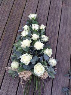 Funeral Flowers.White rose funeral flower spray, white Naomi rose www.thefloralartstudio.co.uk