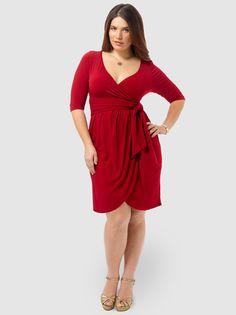 bf09ce15e9497 Harlow Faux Wrap Dress In Red by Kiyonna. Size 16 DressesPlus ...