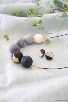 New- Handmade Polymer Clay Beads Necklace + Hand Painted Wooden Earrings