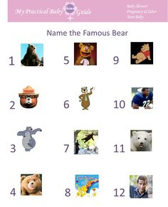 Free Printable Name the Famous Bear Baby Shower Game by My Practical Baby Shower Guide Baby Shower Souvenirs, Baby Shower Prizes, Boy Baby Shower Themes, Baby Shower Fall, Baby Shower Games, Baby Boy Shower, Baby Shower Decorations, Baby Shower Activities, Baby Shower Printables